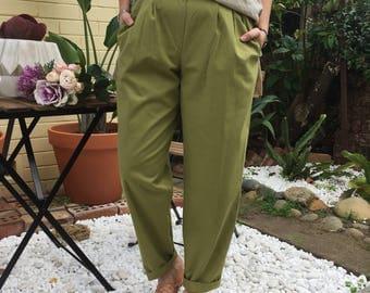 Minimalist Sage Cotton Tapered High Waist Trousers