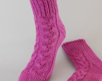 Cable knit socks women Hand knit socks Pink socks women Winter socks for women Handknit winter socks warm size 6-8 US