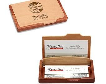 World's Best Teacher Wooden Business Card Holder - Pocket/Desktop Business Card Holder - Personalized Gift for Teacher - Teacher Gift Idea