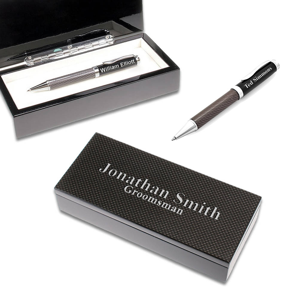 Personalized Pen Gift Set With Customizable Black Carbon Fiber Box ...