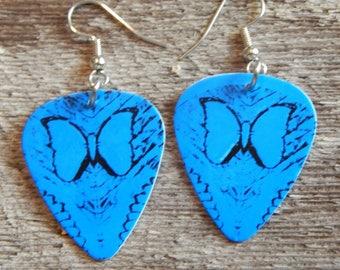 Custom Handmade Guitar Pick Earrings - SANTANA