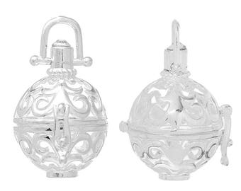 1 Angel Caller Bola Harmony Ball Wish Box Pendants Round Silver Plated Fits 16mm Bead (B469d)