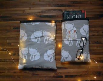 Fox booksleeve_hardcover booksleeve paperback_animals booksleeve_book cozy_bibliophile gift_bookaholic_bookaddict_reader_little foxes grey