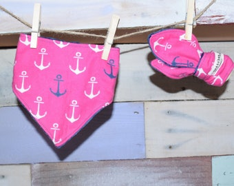 Pink Nautical anchors teething ring and bandana bib baby girl gift set beach baby shower beach boat nursery