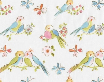 Dena Designs Leanika Love Birds Fabric - Fabric by the Yard - Rare Hard to Find Out of Print Fabric - Lovebirds - Sale Dena Designs