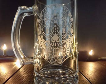 sugar skull, beer glass, day of the dead glass,  sugar skull glass, skull beer mug, skull gift, skull glass, mexican sugar skull glass