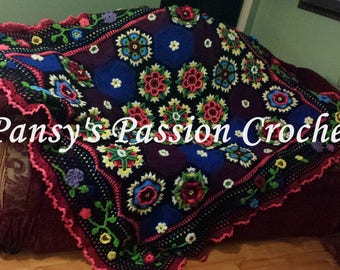 Hand Crocheted Blanket inspired by Frida Kahlo