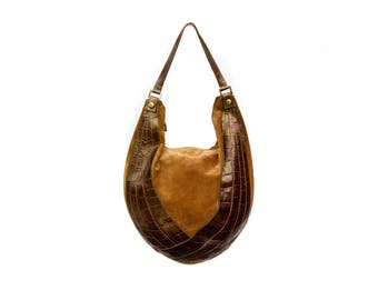 Braccialini Suede and Leather HoBo Shoulder Bag - Made in Italy