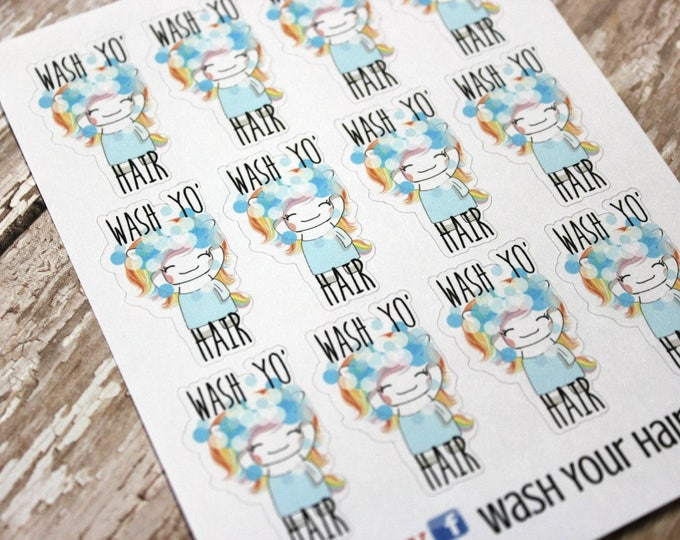 Unicorn Stickers - Unicorn Planner Stickers - Character Stickers - Wash your hair Zumi - Self Care Unicorn - Wash your hair sticker