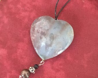 Stone heart necklace,heart pendant on leather,valentine gift,love,stone and pearl heart,boho,brown pearl,leather cord,jasper heart,