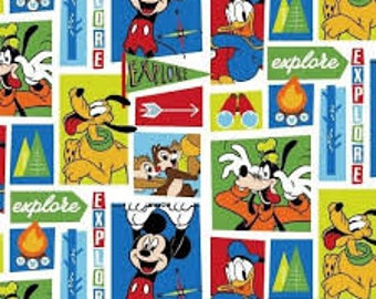 "Mickey friends exploring by Springs Creative fabric, By the Half Yard, 42"" wide, 100% cotton"