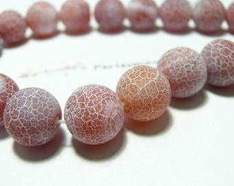 Finish jewelry 2 beads frosted Crackle Agate 16mm effect
