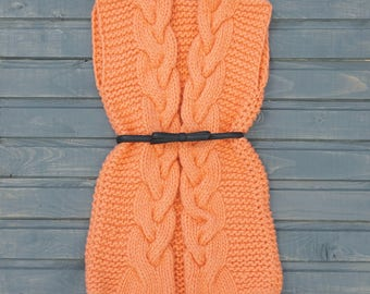 Knitted Long Vest with Cables Bulky Wool