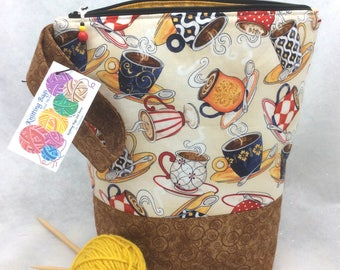 Knitting Project Bag, Knitting Tote,  Crochet Tote, Sock Knitting Bag,  Latte Knitting Bag, WIP Knitting Bag, Crochet Project Bag
