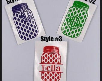 Mason Jar Decal| Mason Jar Monogram Decal| Mason Jar| Name Decal| Personalized Decal| Laptop Decal| Car Decal| Tumbler Decal