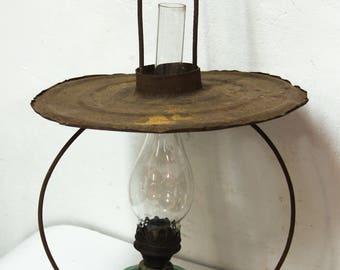 Vintage Hanging Oil Lamp, Old Kerosene Lantern, Antique Oil Lamp, Glass Kerosene Lamp, Farmhouse Country Decor, Country Chic
