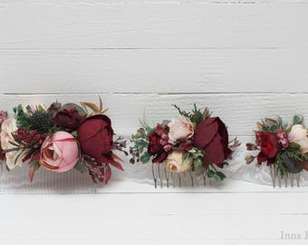 Burgundy pink beige eucalyptus floral comb Flower accessories Bridal Bridesmaid headpiece Burgundy wedding Floral accessory Hair comb