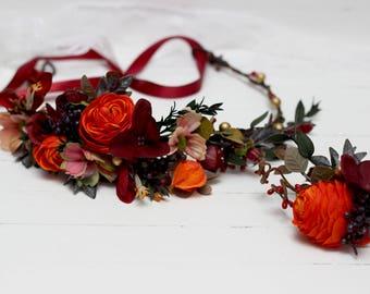 Fall wedding accessories Flower crown Floral headpiece Bridal flowers Burnt orange burgundy gold Hair flower wreath Boutonniere Bridesmaid