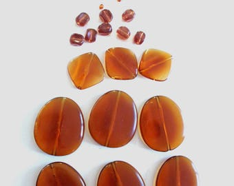Set of 32 Brown transparent beads, assorted shapes