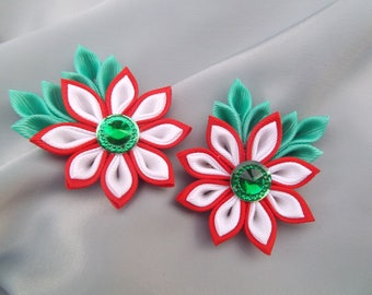 Christmas gift hair bow kanzashi flores tsumami cintillos kanzashi japanese accessories clips flower barretts bows for girls set 2 hair clip