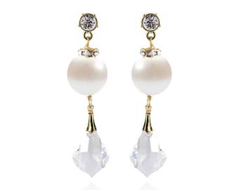 Gold Crystal Stud Crystal Drop Earrings - Swarovski Crystals, Freshwater Pearls, Silver - Style 1110 - Ready to Ship