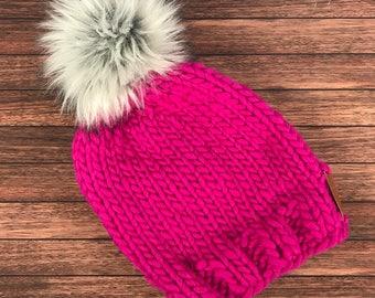 Hot Pink Chunky Knit Beanie with Fur Pom Pom