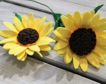 BRIGHT SUNFLOWER Wool blend felt flower