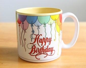 Vintage Rainbow Happy Birthday Coffee Mug, Rainbow mug, lgbt birthday, vintage coffee mugs