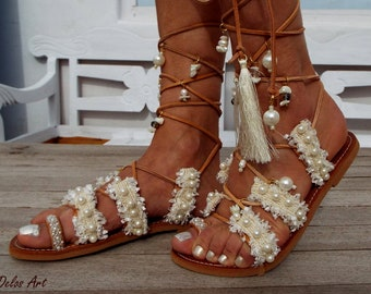 Wedding, Bridal  sandals, Pearls White Beach Wedding Sandals, Ivory fringe, Gold pearl sandals, Greek Sandals, Gladiator  leather shoes