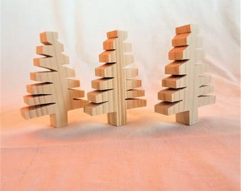 Set of 3 Christmas trees, fir suspension made of natural pine wood, Christmas table decoration, finish sanded very fine