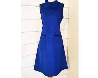 Women's Corduroy Dress Tunic Dress Shift Dress Cowl Neck Dress Black Maroon Dress Pocket Dress Made to Order Dress Australian Made Dress