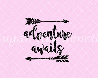 Adventure Awaits stencil baby shower NB900787