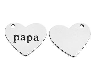 """5 pendants etched """"Dad"""" heart stainless steel 1.8 cm"""
