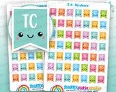 49 Cute T.C. Flags/Tax Credit/Planner Stickers, Filofax, Happy Planner, Erin Condren, Kawaii, Cute Sticker, UK