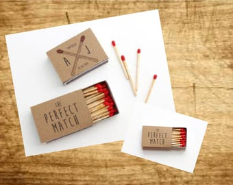 Wedding Favours Matches - 10 x Personalised Favours Matchbox 'the Perfect Match' Wedding - Matches
