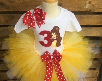 Belle Birthday Tutu Outfit Dress Set Handmade Beauty and the Beast Party 1st 2nd 3rd