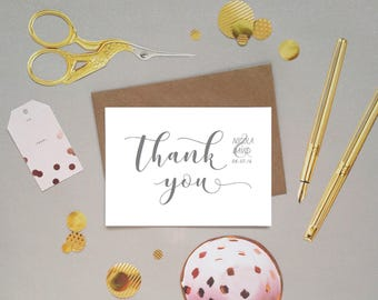 Wedding thank you card from the bride and groom, new Mr and Mrs, hand lettered modern calligraphy font, customised, personalised, UK