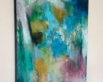 Abstract painting, original abstract, blue and biege abstract, powder colored abstract painting, contemporary abstract painting,