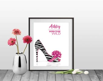 Zebra Print Artwork, Zebra Print Shoes, Born To Be Wild, Black White Heel, Zebra Design, Shoe Lover Gift, Personalized Zebra Print