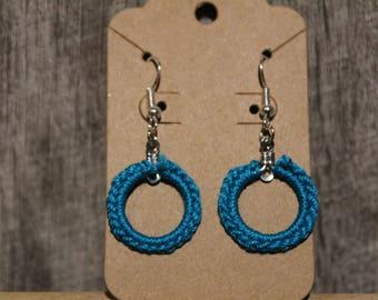 Small crochet hoop earrings