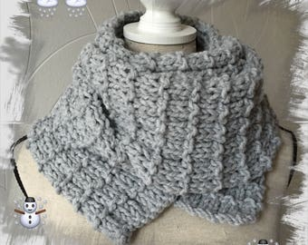 Large wool scarf for men, women or teens, made from a wool winter soft warm and comfortable, Pearl gray color