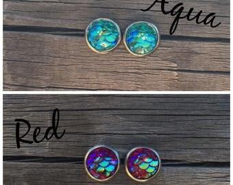 Mermaid Scale Earrings- Dragon Scale Earrings - Mermaid Scale Studs - 8mm Hypoallergenic Stud Earrings- Mermaid Earrings Gift Set