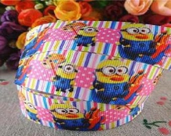 SOLD by the yard grosgrain Ribbon MINIONS 25 mm