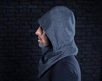Handmade wool scarf, hooded scarves, hood cowl, scarf with hood, blue