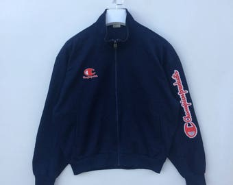 Vtg rare 90s Champion product big logo spell out zipper track top jacket M size