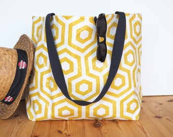 Beach bag XXL in graphic coated cotton mustard yellow and white / large tote bag / waterproof bag