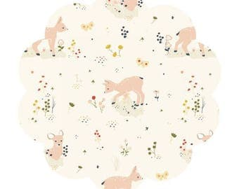 Little deer poplin. Organic cotton fabric. Birch fabric. Deer/floral print cotton. DIY sewing/craft fabric supply. Apparel cotton fabric.