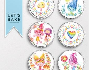 Trolls,Trolls cupcake topper,trolls cupcake,trolls cake,edible cupcake topper,birthday cupcake topper, birthday