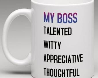 My Boss - Talented Witty Appreciative Thoughtful - Novelty Ceramic Mug