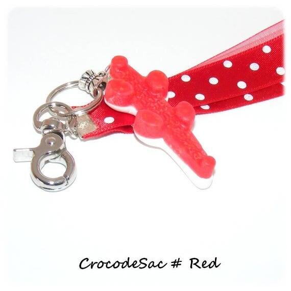 Bag # Keychain # sweet # # crocodile # greed # # Red satin ribbon embellishment